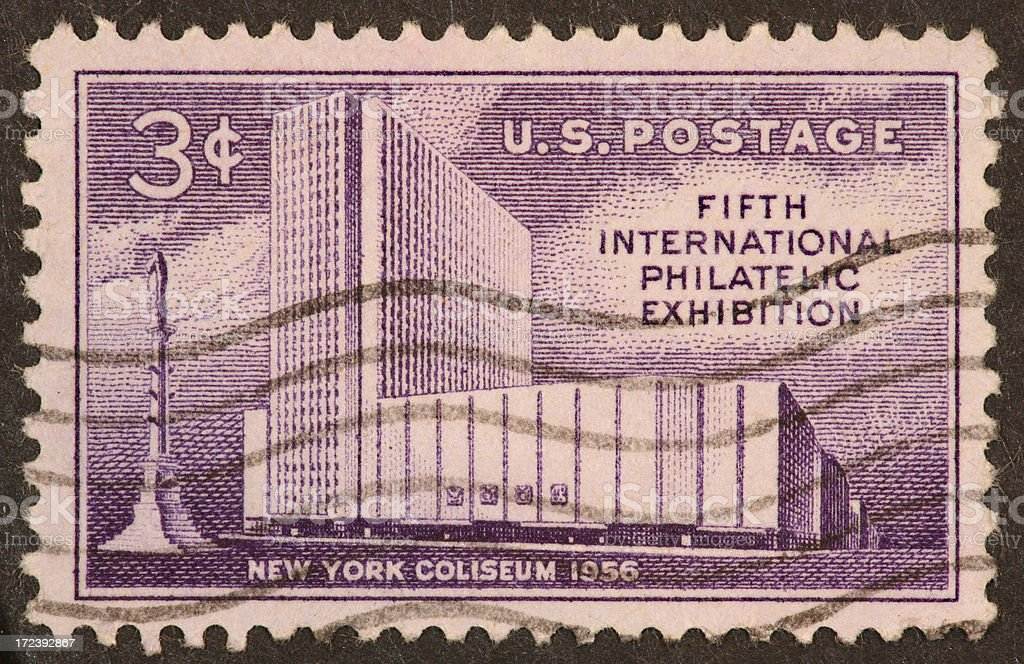 New York Coliseum stamp 1956 royalty-free stock photo