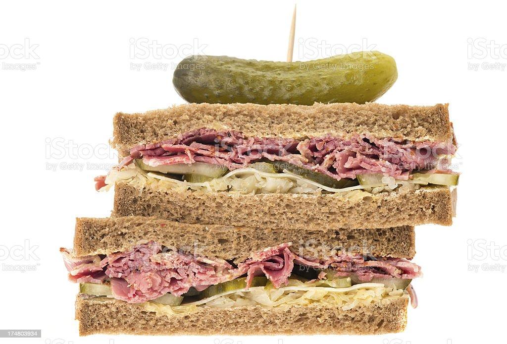 New York deli pastrami sandwich royalty-free stock photo