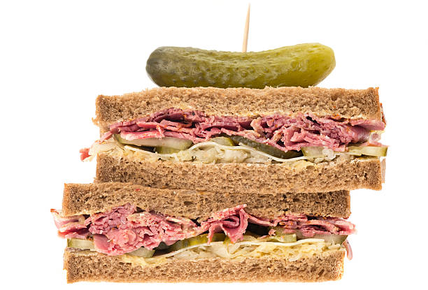 new york deli pastrami sandwich - pastrami stock pictures, royalty-free photos & images