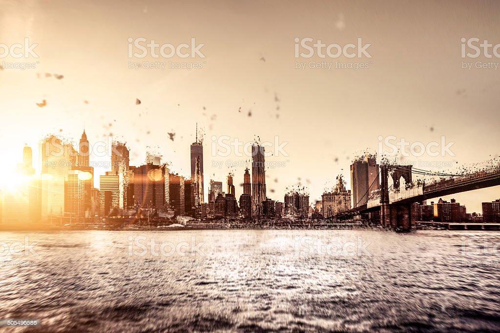 Apocalipsis el centro de la ciudad de Nueva York - foto de stock