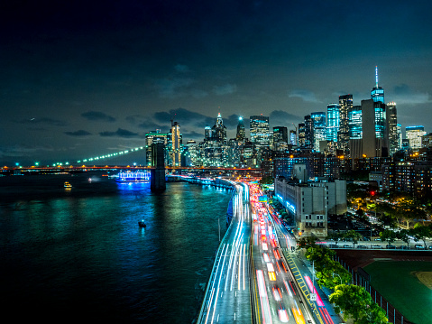 New York Downtown skyline , evening with traffic