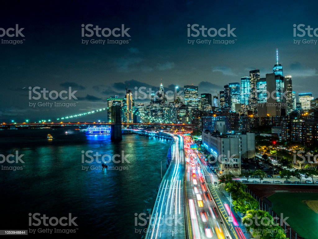 New York Downtown skyline - Aerial View after sunset stock photo