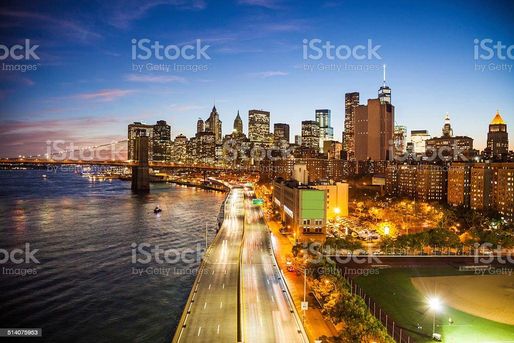 New York Downtown skyline - Aerial View stock photo