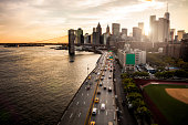 New York Downtown skyline - Aerial View.