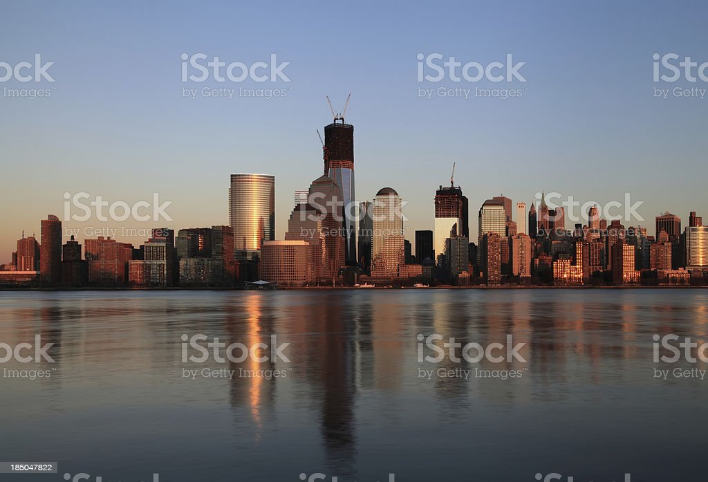 New York downtown skyline at dusk. royalty-free stock photo