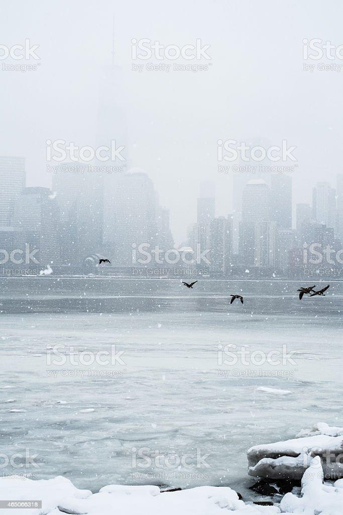 New York downtown skyline in winter stock photo