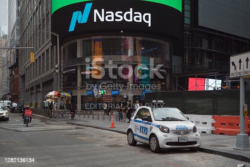 Manhattan, New York. October 22, 2020. NYPD Mercedes Benz smart car parked near the Nasdaq market site in Times Square.