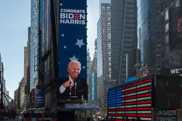 New York during the COVID-19 emergency. Manhattan, New York. November 09, 2020. Times Square tribute to president elect Joe Biden. joe biden stock pictures, royalty-free photos & images