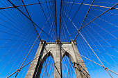 Brooklyn Bridge , pedestrian structure over Hudson river, from Brooklyn to Manhattan in New York, NY, USA