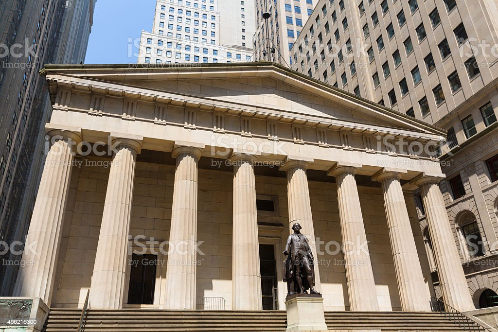 New York Federal hall Memorial George Washingto stock photo