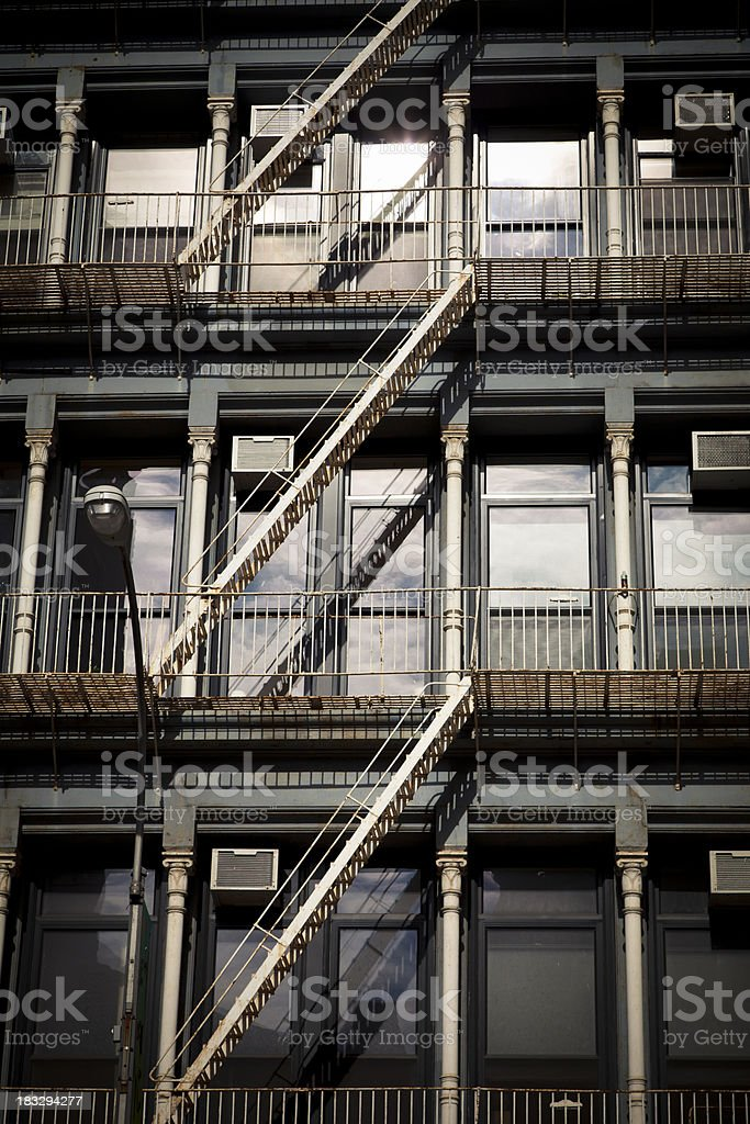 new york fire escapes royalty-free stock photo