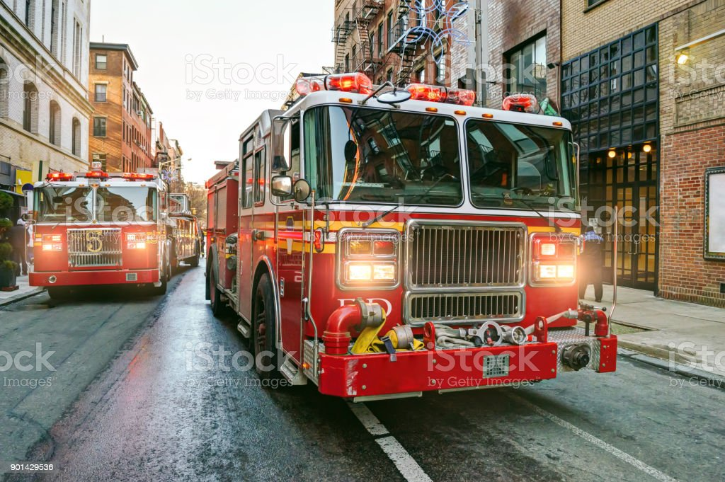 New York fire trucks stock photo