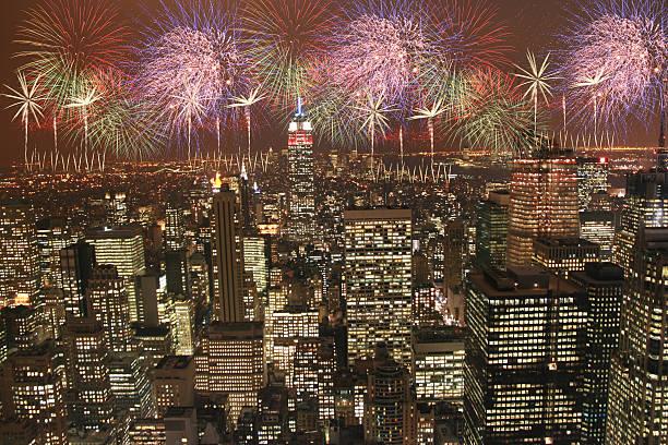 new york feuerwerk - new york new year stock-fotos und bilder
