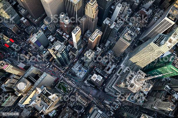 Helicopter point of view of Times Square in New York with many details visible in the image.