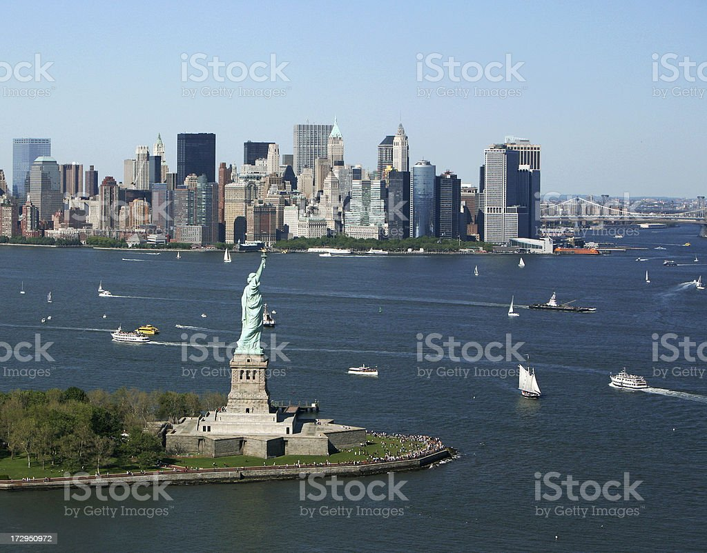 New York Harbor and Skyline royalty-free stock photo