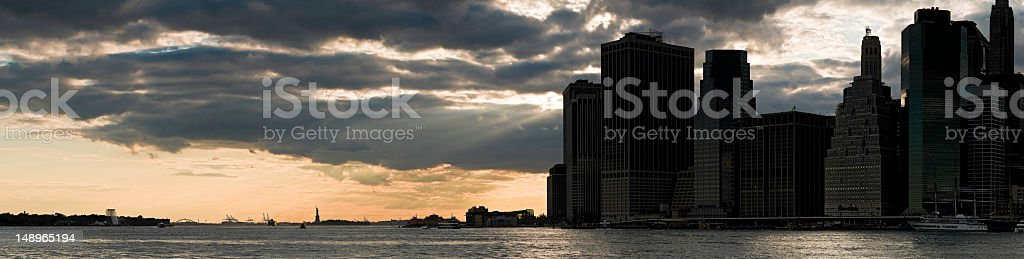 New York harbor downtown sunset royalty-free stock photo