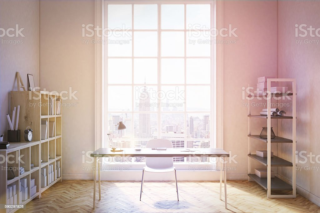 New York home office interior royaltyfri bildbanksbilder