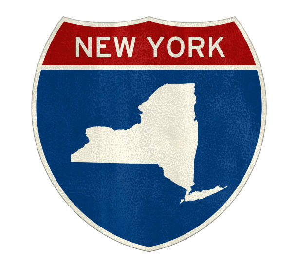 New York Interstate road sign New York Interstate road sign albany county new york state stock pictures, royalty-free photos & images