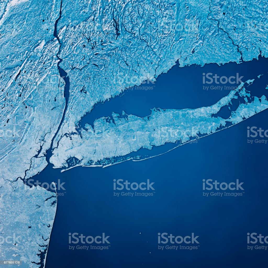 Topographic Map Long Island.New York Long Island 3d Render Satellite View Topographic Map Blue