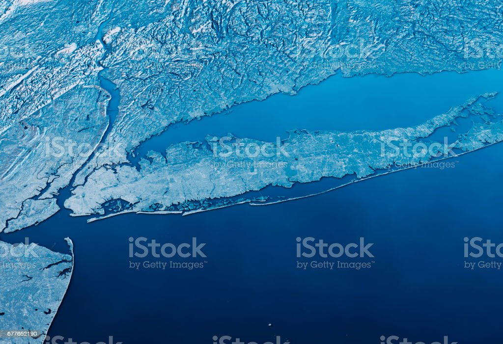 New York Long Island 3D Render Satellite View Topographic Map Horizontal Blue stock photo