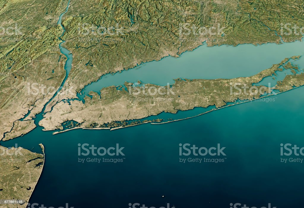 New York Long Island 3D Render Satellite View Topographic Map Horizontal stock photo