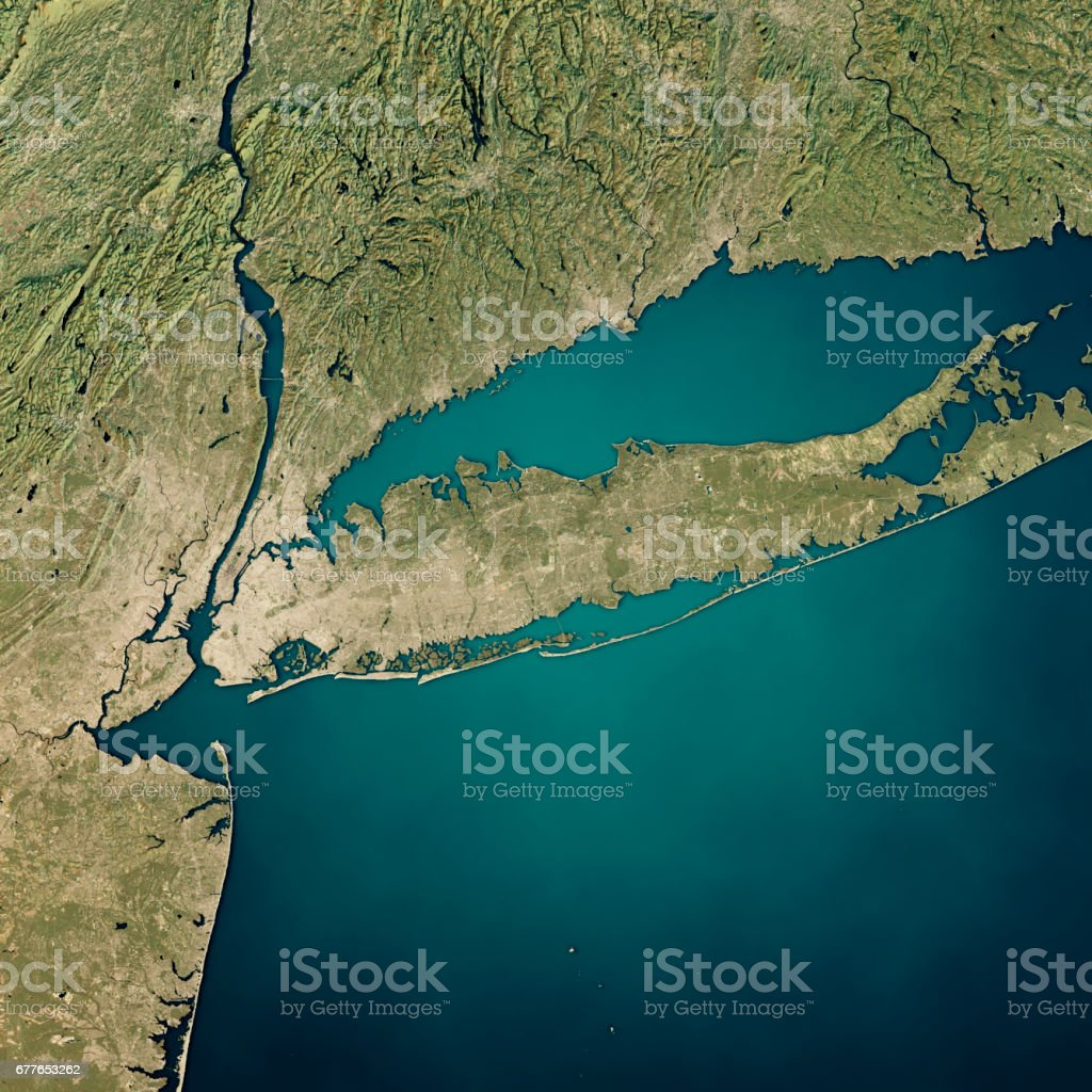 New York Long Island 3D Render Satellite View Topographic Map stock photo