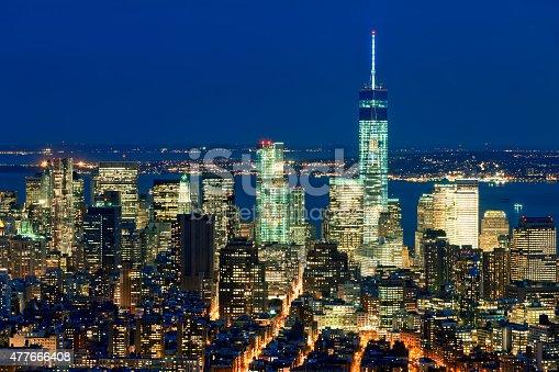 istock New York, Lower Manhattan Skyline With Freedom Tower at Night 477666408
