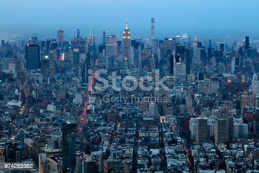 istock New York, Manhattan at Night, Aerial View 974283362