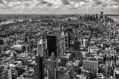 Black and white Skyline of downtown Manhattan New York