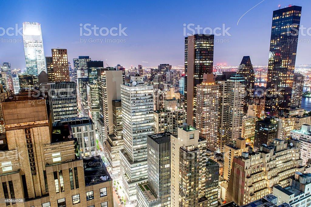 New York Manhattan East Midtown at twilight stock photo