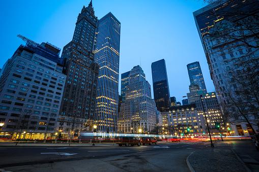 New York Manhattan Fifth avenue morning traffic