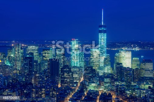 istock New York, Manhattan Financial District, Freedom Tower at Night 493704451