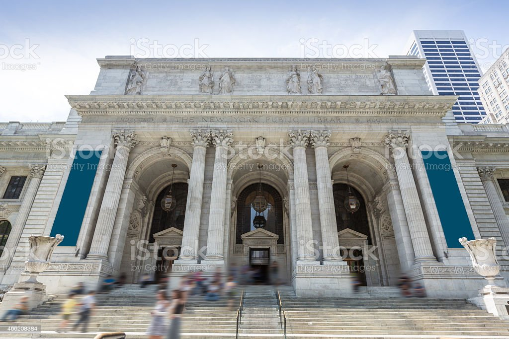 New York Manhattan Public Library Fifth Avenue stock photo