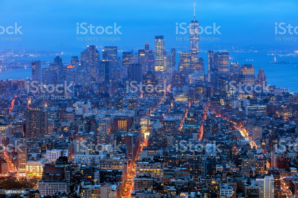 Manhattan, New York Skyline bei Nacht – Foto