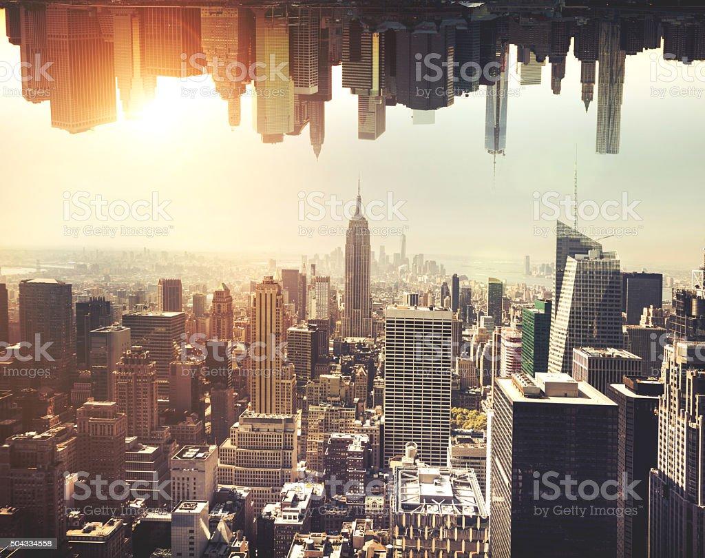 New York Manhattan skyline at sunset stock photo