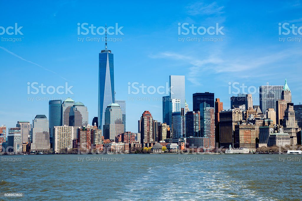 New York, Manhattan, Skyline With One World Trade Center Tower stock photo