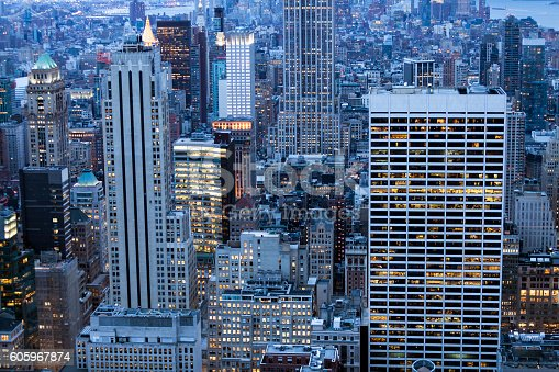 istock New York, Manhattan, Skyscrapers From Above at Night 605967874
