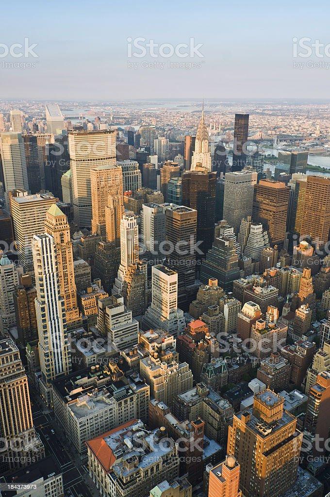 New York Manhattan skyscrapers sunset light Chrysler Building USA stock photo