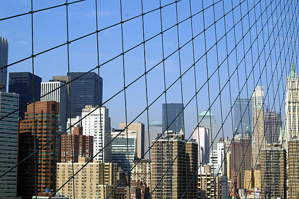 New York, Manhattan, taken from brocklyn Bridge stock photo