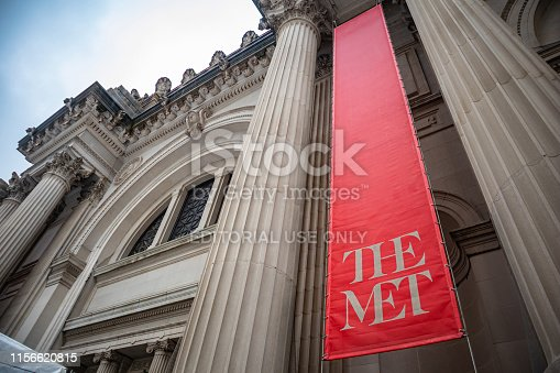 New York, USA. May 5 , 2019. The New York Public Library entrance against blue sky background, sunny spring day