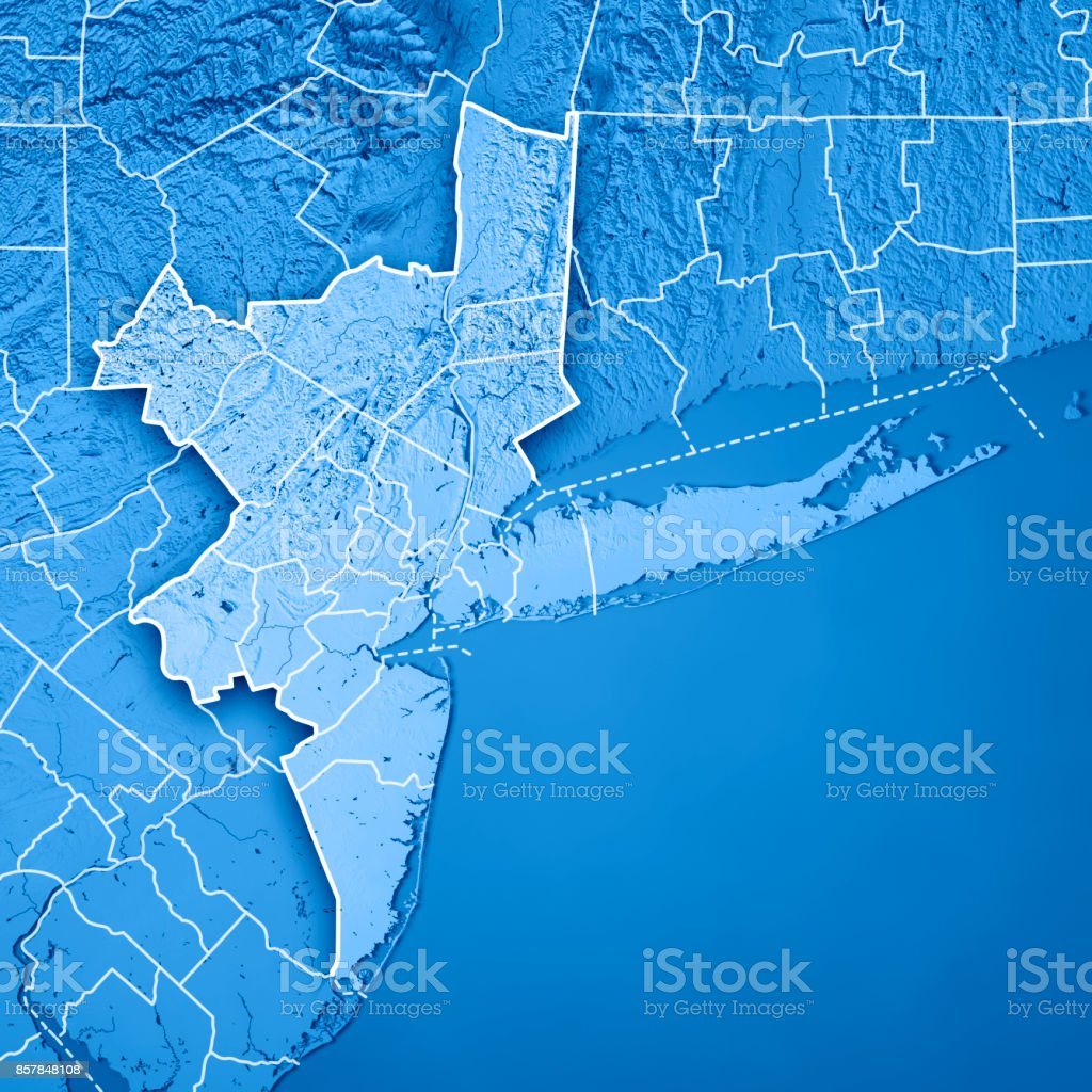 New York Metropolitan Area Usa D Render Topographic Map Blue Border - North america topographic map