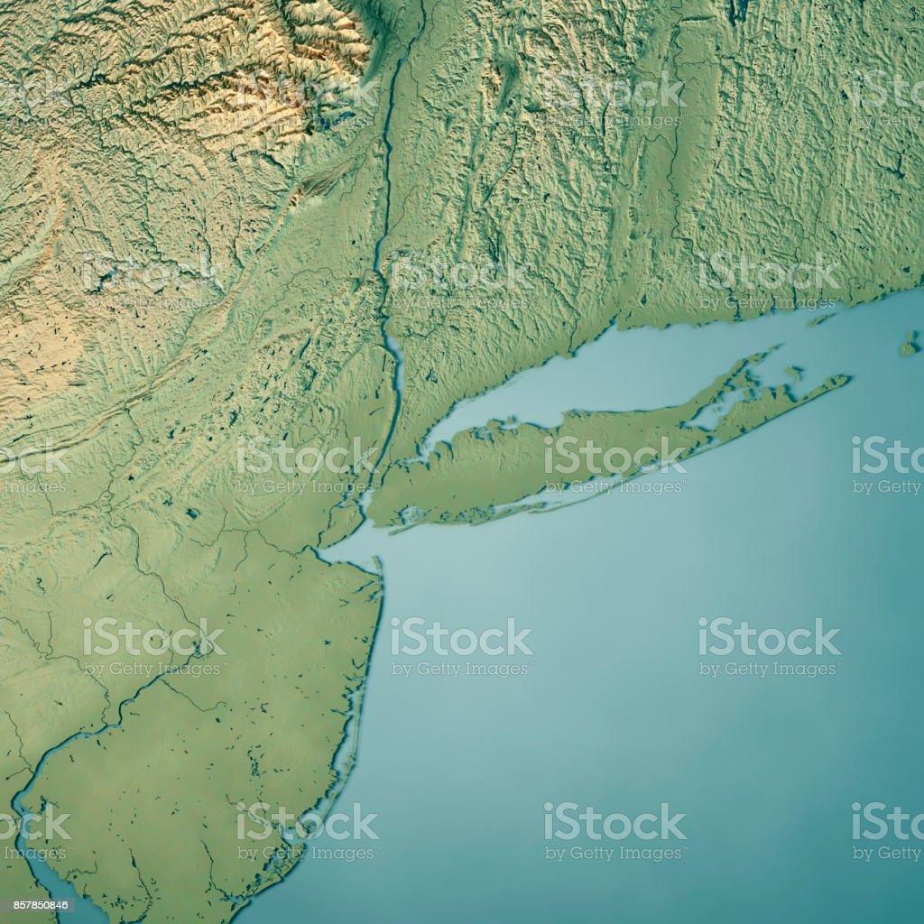 New York Metropolitan Area Usa 3d Render Topographic Map Stock Photo