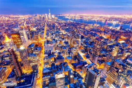 istock New York, Midtown Manhattan, Aerial View at Dusk 487039670
