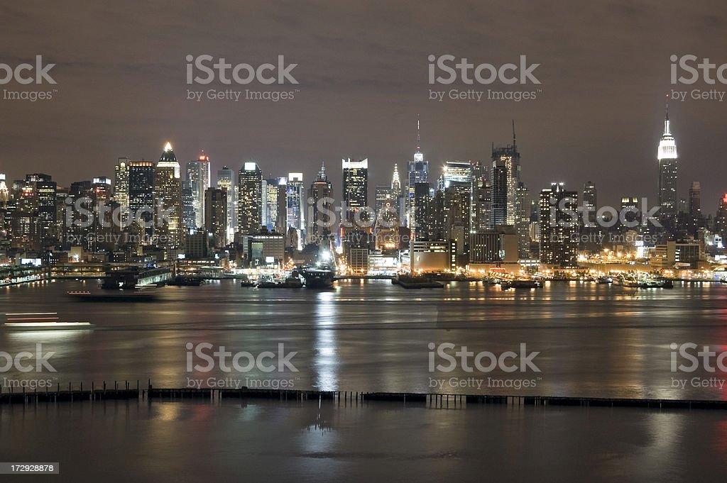 New York - Midtown Manhattan at Night stock photo