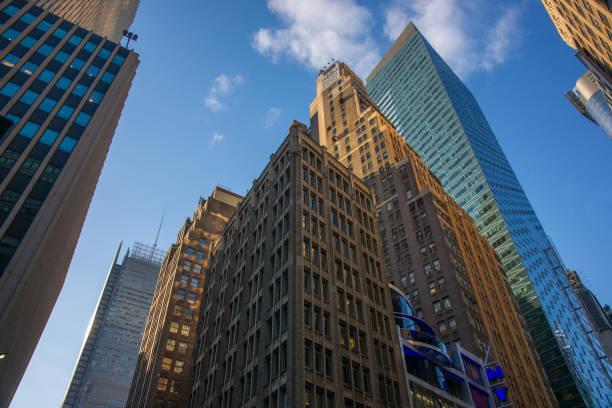New York Midtown Skyscrapers Against Blue Sky