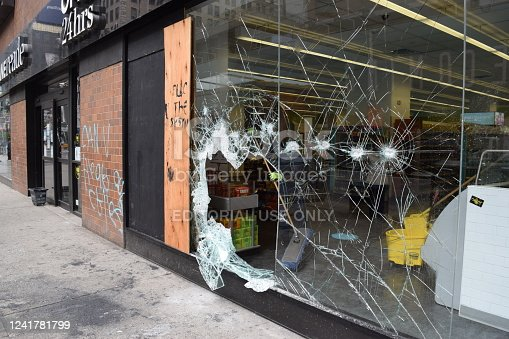 Damage to Stores After Protests and Looting on Morning of June 2, 2020