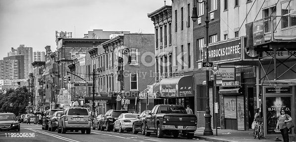 The bustling downtown district of Brooklyn's Greenpoint neighborhood in New York City.