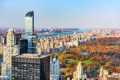 New York, New York, USA cityscape with Central Park in autumn.