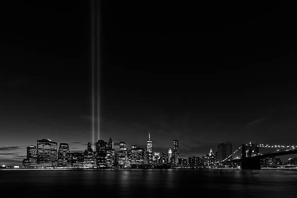 New York night skyline stock photo