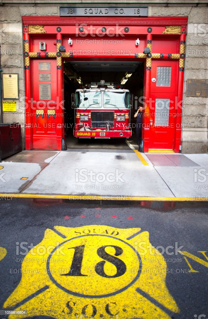 New York, NY: Firetruck in Squad 18 Firehouse stock photo